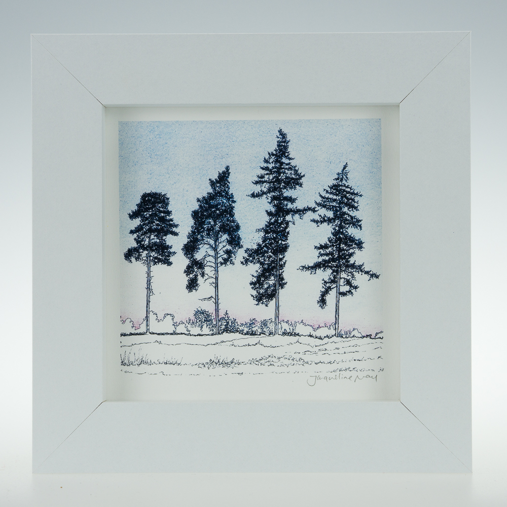 'Four Winter Pines'-framed print -RSPB The Lodge