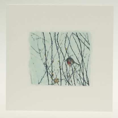 'Garden Robin on Blue'-greeting card-Artists Garden in January