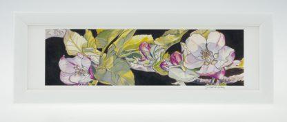 Apple Blossom on Umber-Small Long Framed Print-Stoneywell Cottage