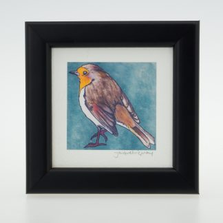 'Stoneywell Robin on Blue'-framed print -Stoneywell Cottage