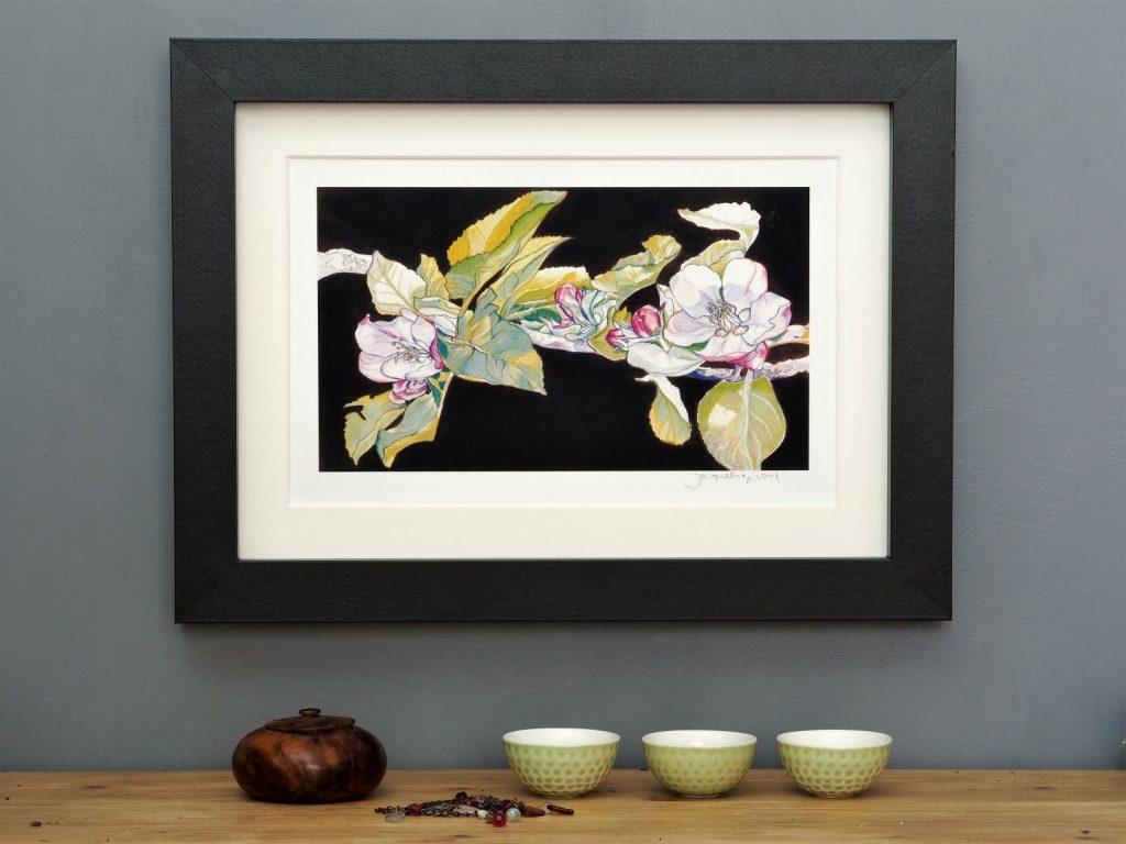 'Apple Blossom on Umber' mounted art print