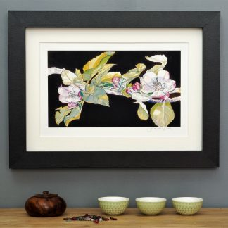 'Apple Blossom on Umber' mounted art print