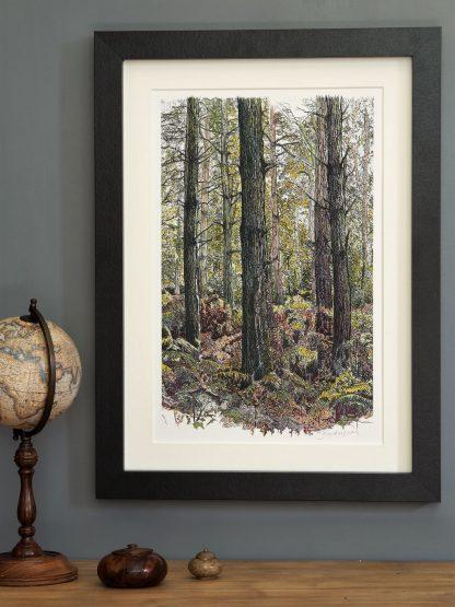 'Bracken Wood-Portrait'-mounted fine art print
