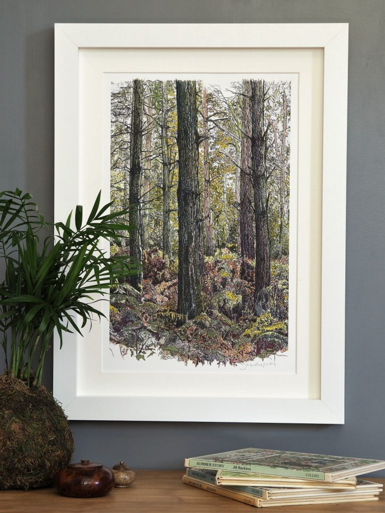 'Bracken Wood-Portrait'-mounted fine art print