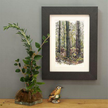 'Bracken Wood-Portrait' MINI mounted print