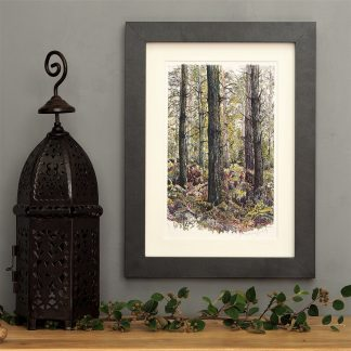 'Bracken Wood-Portrait' SMALL mounted print--