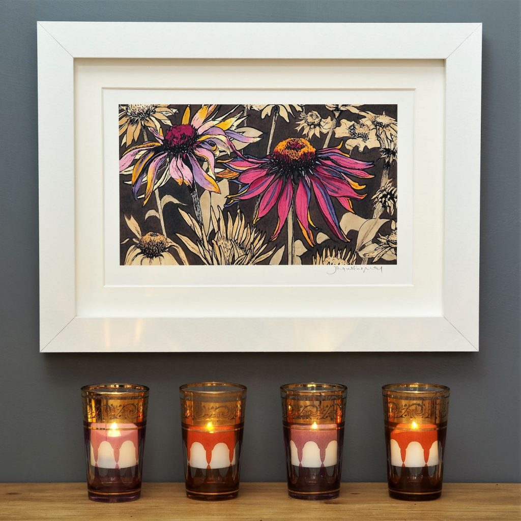 'Echinacea on Umber' SMALL mounted print