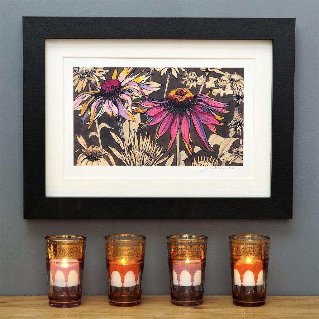 'Echinacea on Umber' SMALL mounted print