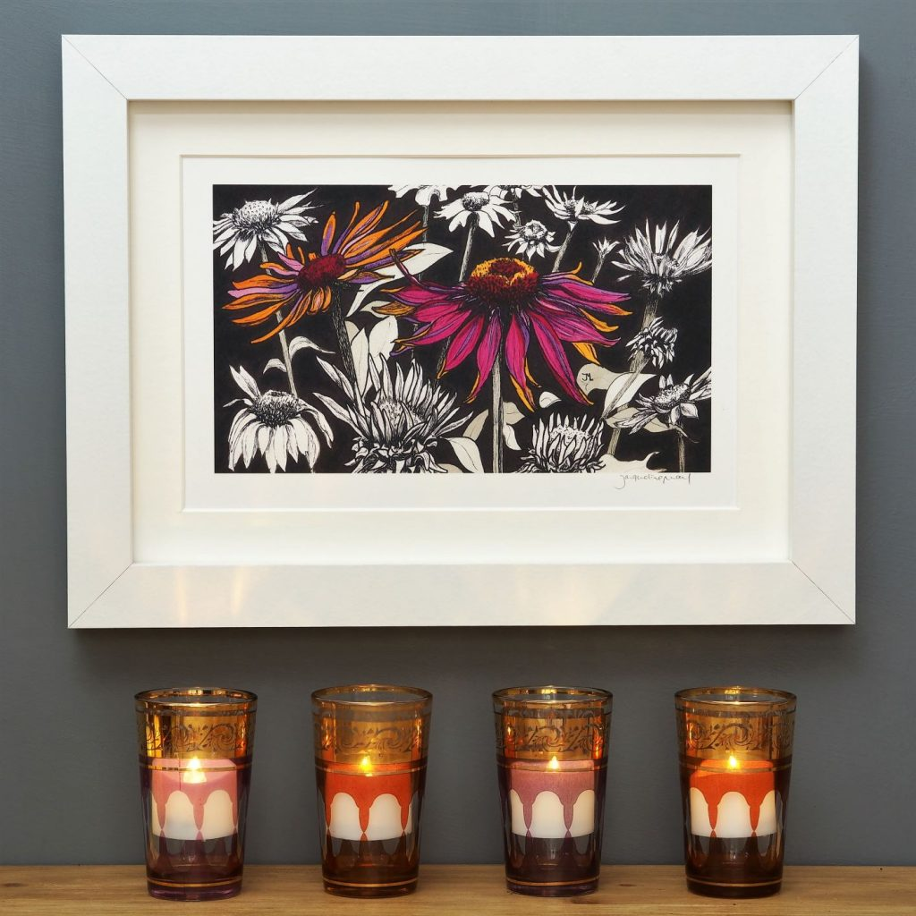 'Pink Echinacea' SMALL mounted print
