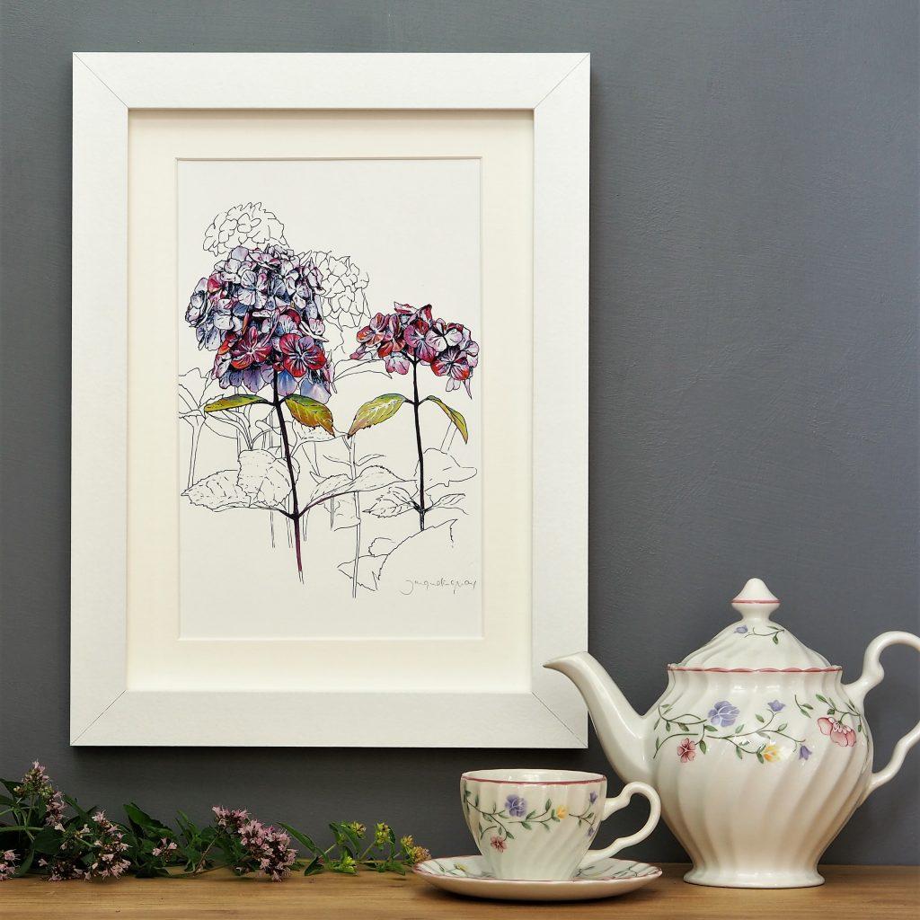 'Purple Hydrangea' SMALL mounted print