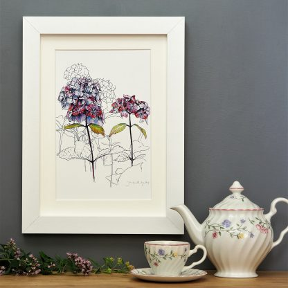 'Purple Hydrangea' SMALL mounted print