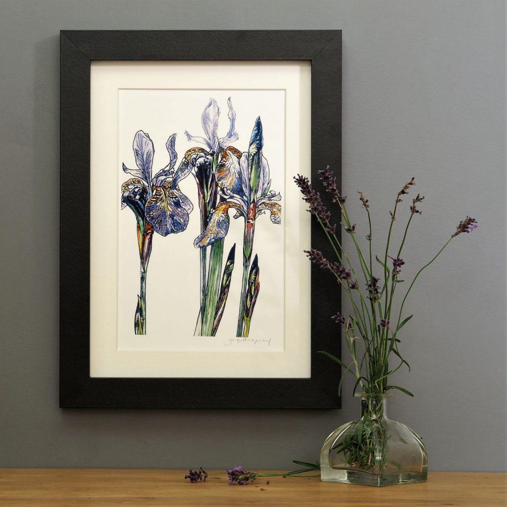 'Purple Iris' portrait SMALL mounted print