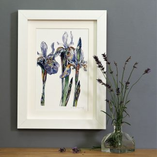 'Purple Iris' portrait SMALL mounted print