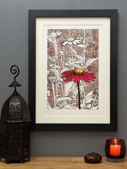 'Red Echinacea' MEDIUM mounted print