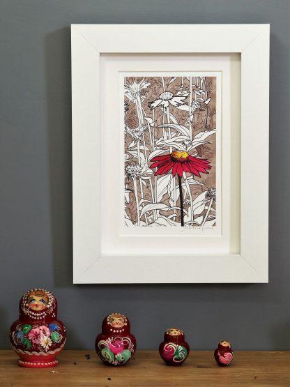 'Red Echinacea' MINI mounted print-