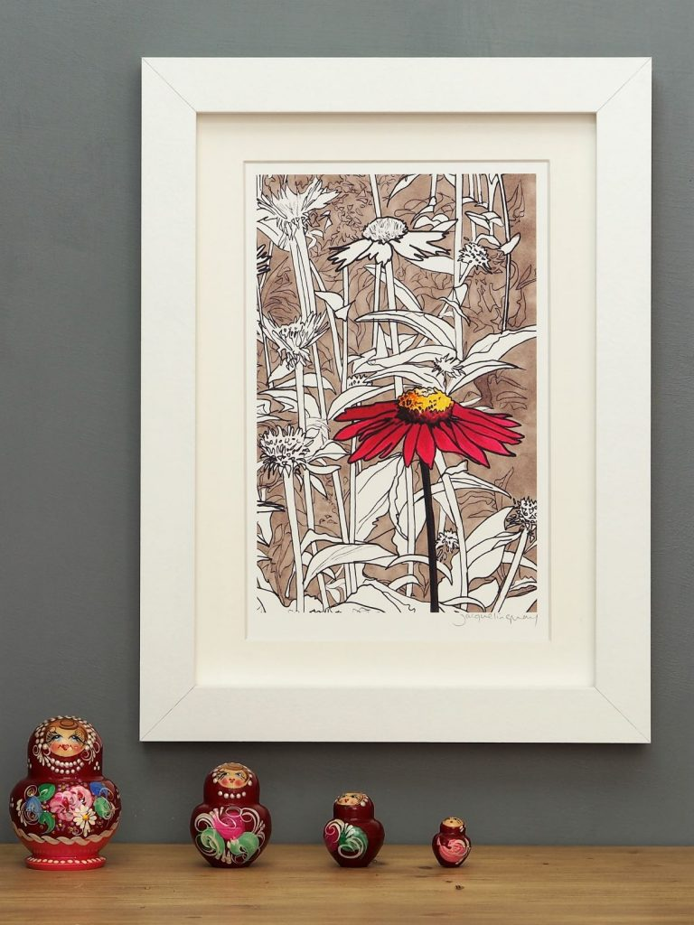 'Red Echinacea' SMALL mounted print-