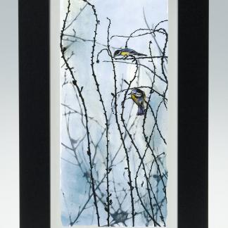 'Busy Birds'-medium long framed print